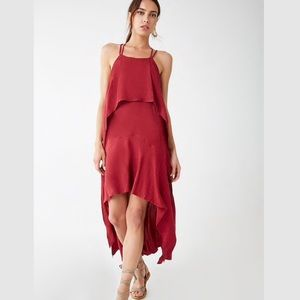 NWT Red Strappy Crisscross Geometric Maxi Dress
